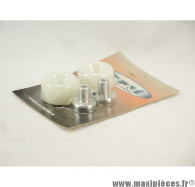 Prix discount ! Tampons de protection + embouts Delta pour MBK Booster/Yamaha BW's blanc (2 paires)