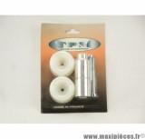 Prix discount ! Tampons de protection + embouts Delta pour Aprilia RS 50 blanc (1 paire)