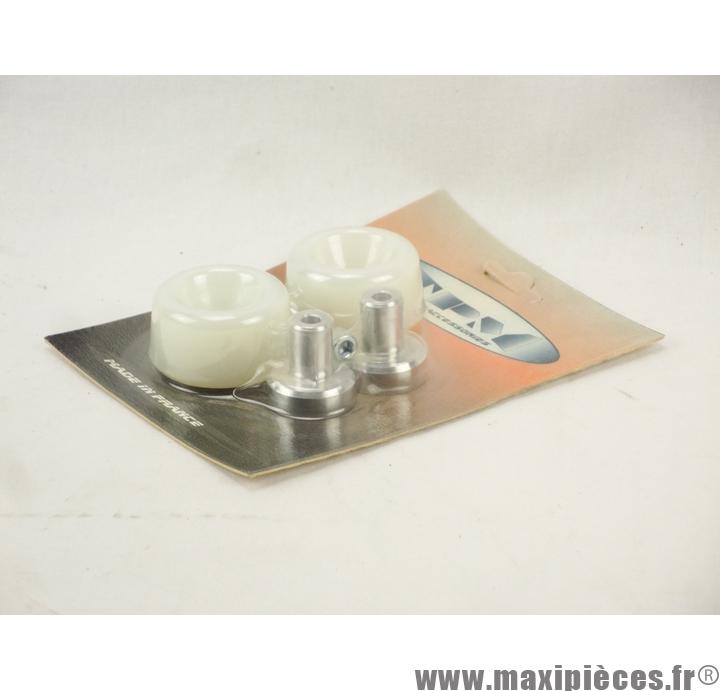 Prix discount ! Tampons de protection + embouts Delta pour MBK Booster/Yamaha BW's blanc (2 paires)