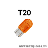 Ampoule wedge orange T20 12V 21W à l'unité * Déstockage !