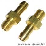 X2 Raccord/prise d'eau culasse ou dépression carburateur/boite a clape/pipe à visé M6X100 (en laiton) * Déstockage !
