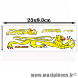 Déstockage ! Planche autocollants / stickers Lion Malossi jaune (25x8.3cm)