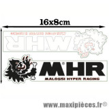 Planche autocollant Malossi MHR blanc et noir (16x8cm) *Déstockage !
