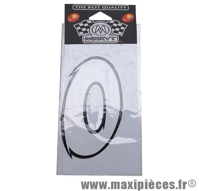 Déstockage ! numéro de course autocollant blanc (n°0) H 9cm