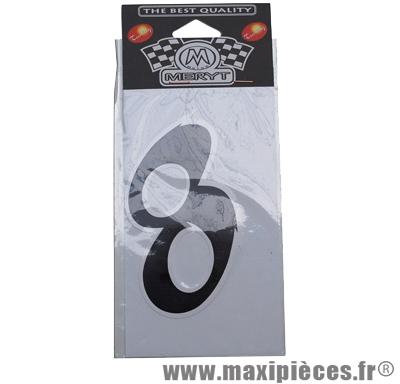 Déstockage ! numéro de course autocollant noir (n°8) H 9cm
