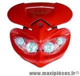 Prix discount ! Tête de fourche plaque phare fly eyes halogène 4x20watts pour moto 50 à boite (rouge)