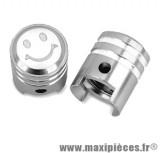 Bouchon de valve en forme de piston argenté (paire) *Prix discount !