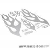 Déstockage ! Autocollant flammes argent (50x35cm)