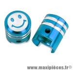 Paire de bouchon de valve schrader en forme de piston bleu (paire) *Prix discount !