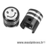 Bouchon de valve en forme de piston noir (paire) *Prix discount !