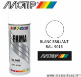 Bombe peinture Motip Prima Dupli Colors BLANC brillant spray (400ml) *Déstockage !
