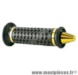Déstockage ! Paire de poignées cône noir avec embout or jaune