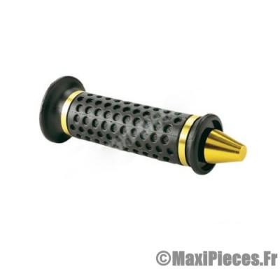 Destockage ! Paire de poignées cône noir avec embout or jaune
