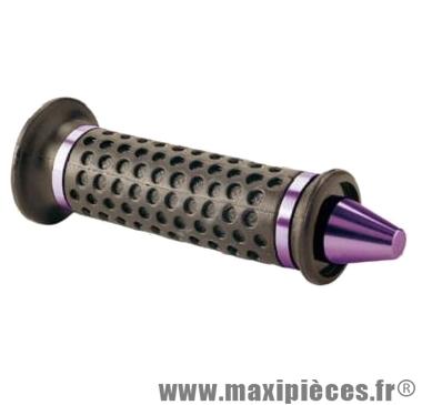 Déstockage ! Paire de poignées cône noir avec embout violet