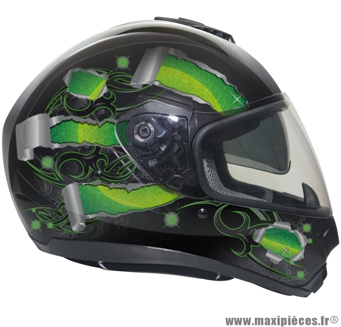 Casque Integral Moto Scooter Gpa X13 Ds Noir Deco Vert L Maxi