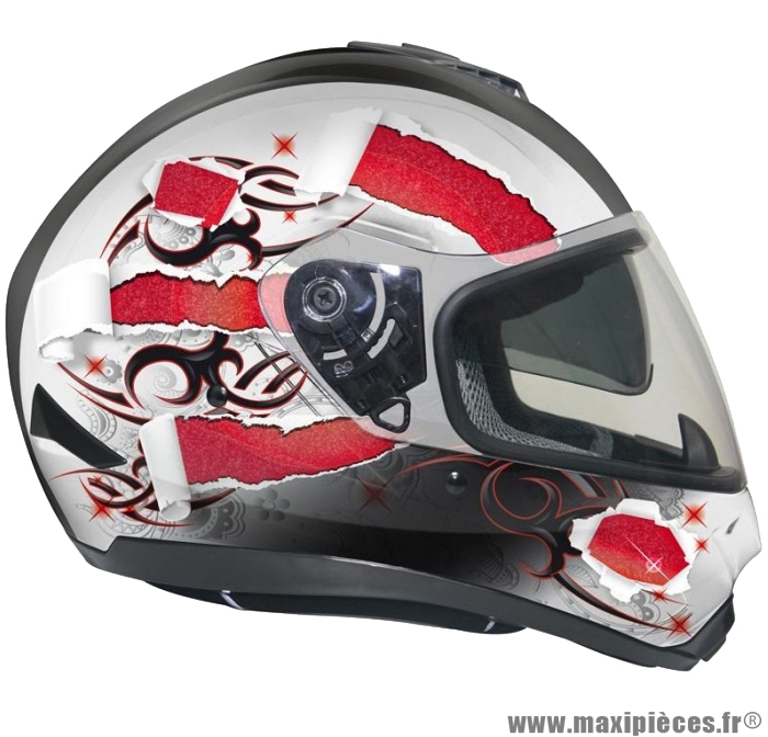 Casque Integral Moto Scooter Gpa X13 Ds Blanc Rouge S Maxi Pièces 50