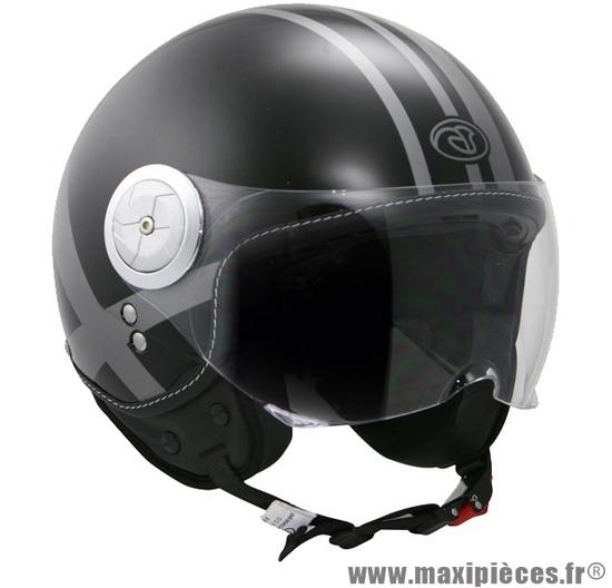 Casque Moto Jetbol Aviateur Hokkey S Noir Brillant Maxi Pièces 50