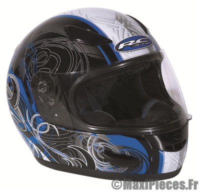 Déstockage ! Casque intégral RC Osslo Taille L (59-60 cm) noir/déco bleu