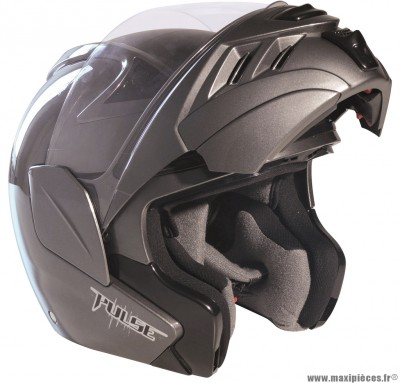 Destockage casque modulable de marque «RC Pulse» gris brillant double écran (Homologué) Taille XS (53-54 cm)