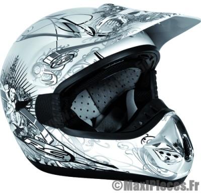 Déstockage ! Casque cross RC Assault Helmets Taille XL (61-62 cm) blanc
