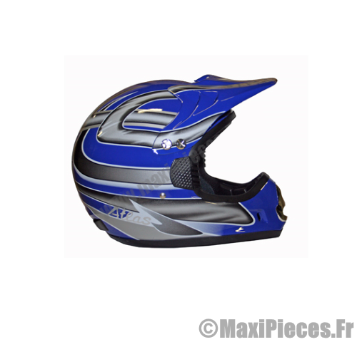 Casque motocross enduro atlas bleu..