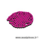 Déstockage ! Chaîne (Pas 420) renforcée couleur rose fluo 140 maillons pour moto et 50 à boîte