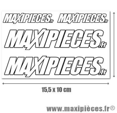 Stickers officiels Maxipièces blanc sur fond transparent (planche 15,5 x 10 cm)