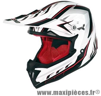 Casque cross Noend Defcon 5 taille XXL (63-64 cm) noir, blanc et rouge