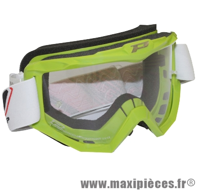 Masque lunette cross Progrip vert taille unique anti-buée et uv