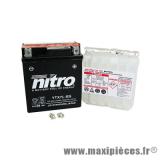 Prix spécial ! Batterie Nitro 12V 6AH (YTX7L-BS) sans entretien pour maxi-scooter, moto, (dimension lg114xl71xh131)