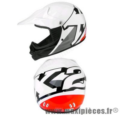 Casque cross enfant Helmet X2 blanc/rouge taille L(52)