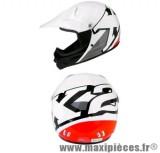 Casque cross enfant Helmet X2 taille S(48) blanc/rouge