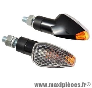 Clignotant goutte d'eau universel noir et transparent avec ampoule orange + indicateur arrière (vendu par 2) (Homologuée)