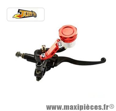 Maître cylindre de frein Tun'r universel droit noir avec réservoir séparé bouchon rouge pour moto & scooter