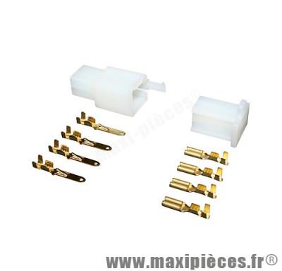 Connecteur électrique plastique 4 fiches (mâle/femelle)