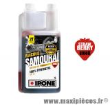 Huile Ipone 2 temps samouraï racing 100% synthèse senteur fraise vendu en 1L lubrifiant pour Scooter, Mécaboite, Mobylette, Moto, Quad, Maxi Scooter