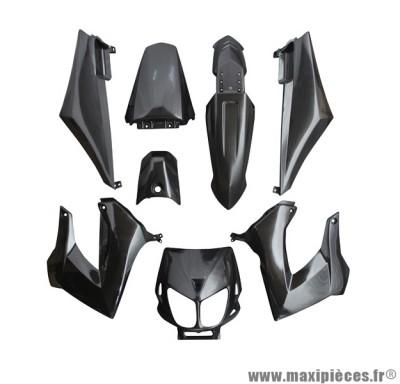 Kit carrosserie carénage noir pour 50 a boite derbi senda drd x-treme x-race 1994 à 2010 (8 pièces)