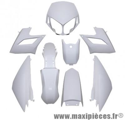 Kit carrosserie carénage blanc pour 50 a boite derbi senda drd racing 2008 à 2011 (8 pièces)