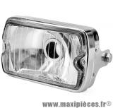 Phare rectangle optique chromé adaptable pour moto ou mobylette Peugeot 103 MBK 51...