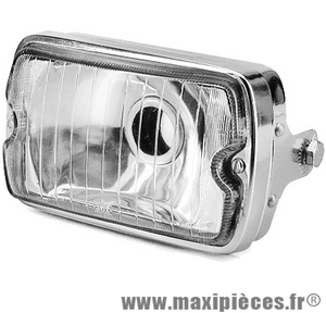 Phare rectangle optique chromé adaptable pour moto ou mobylette Peugeot 103 MBK 51...