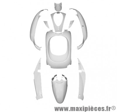 Kit carrosserie carénage blanc brillant pour sym mio 50cc (KIT 10 PIÈCES)