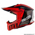 Casque cross adulte marque MT Falcon Warrior couleur rouge brillant taille L (boucle double D)