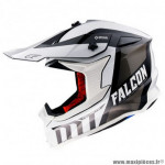 Casque cross adulte marque MT Falcon Warrior couleur blanc brillant taille L (boucle double D)