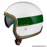 Casque jet marque MT Le Mans 2 SV Tant couleur blanc/rouge/vert brillant taille XXL
