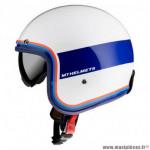 Casque jet marque MT Le Mans 2 SV Tant couleur blanc/rouge/bleu brillant taille XXL