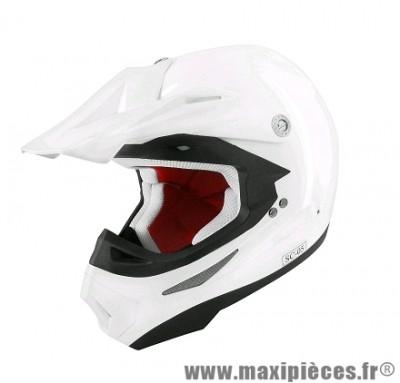 Casque Moto Cross marque TNT SC05 Blanc Brillant Uni taille L (59-60cm)