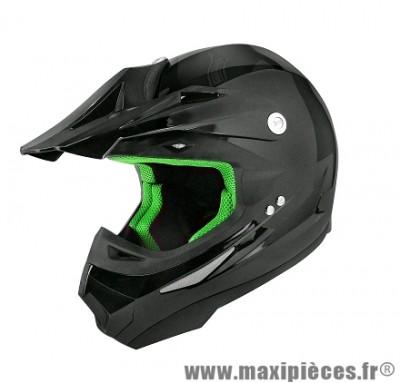 Casque Moto Cross taille XL marque TNT SC05 Noir Brillant Uni (61-62cm)