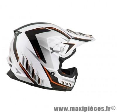 Casque Moto Cross taille XL marque NoEnd Defcon 5 White/Orange TX696 (61-62cm)