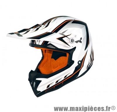 Casque Moto Cross marque NoEnd Defcon 5 White/Orange TX696 taille XXL (63-64cm)