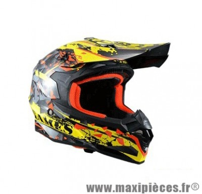 Casque Moto Cross marque Trendy 17 T-901 X-Games Noir/Jaune/Rouge Verni taille XS (53-54cm)